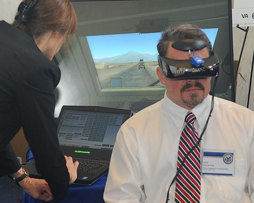 Research Participant uses Virtual Reality Device.