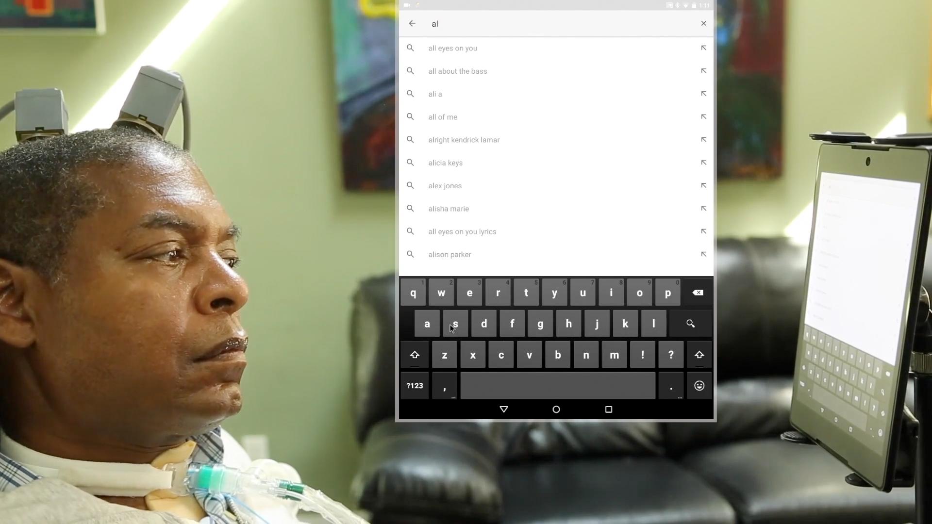 BrainGate Participant using tablet for communication.