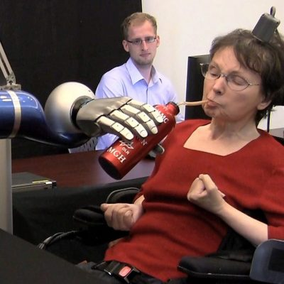 BrainGate Participant used robotic arm to drink coffee.